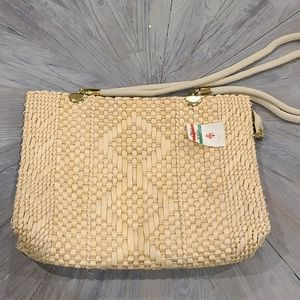 NWT Large Straw lined purse made in italy